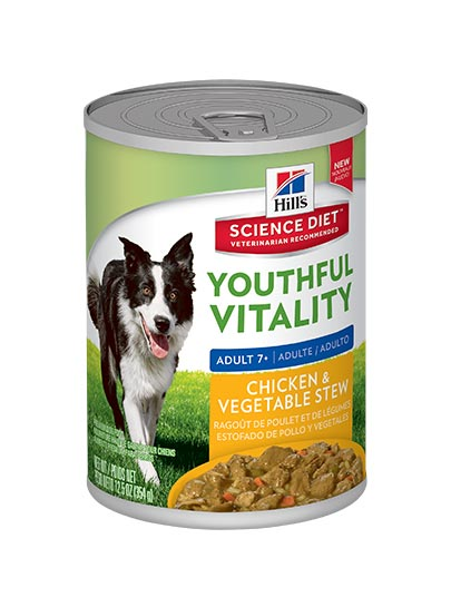 Hills Adult 7+ Youthful Vitality Canned Chicken & Vegetable Stew