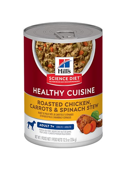 Hills Adult Mature Adult Roasted Chicken, Carrots & Spinach Stew Canned dog food