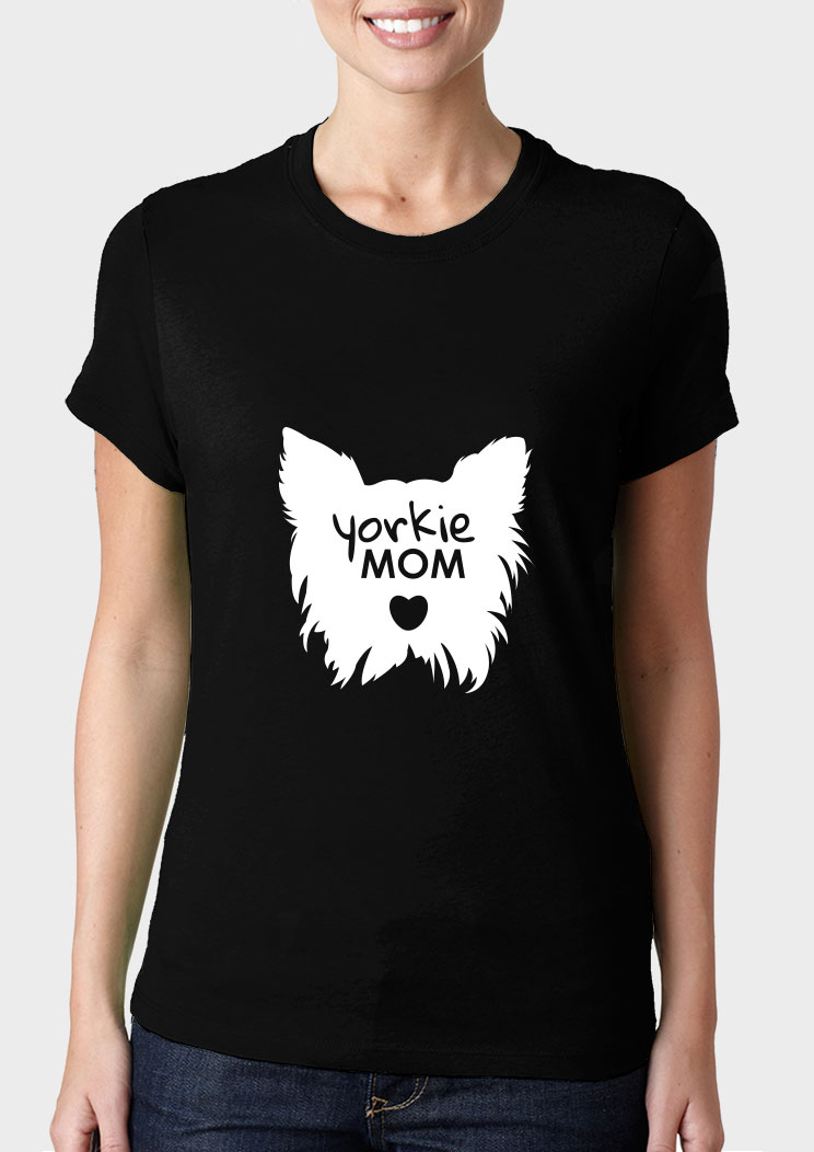 1ae1df7c Yorkie Mom Ladies Cut T-shirt | Pet accessories & gifts for Dog ...